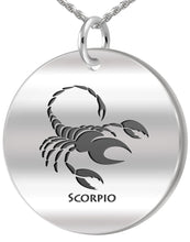 Scorpio Necklace - Zodiac Pendant Necklace In Round