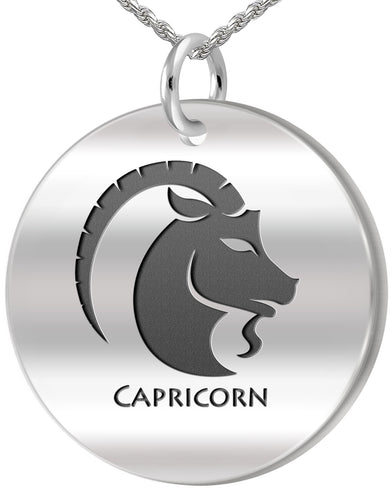 Capricorn Necklace - Zodiac Pendant Necklace In Round