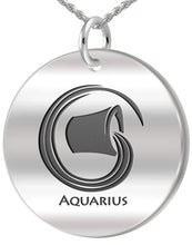 Aquarius Necklace - Zodiac Pendant Necklace In Round