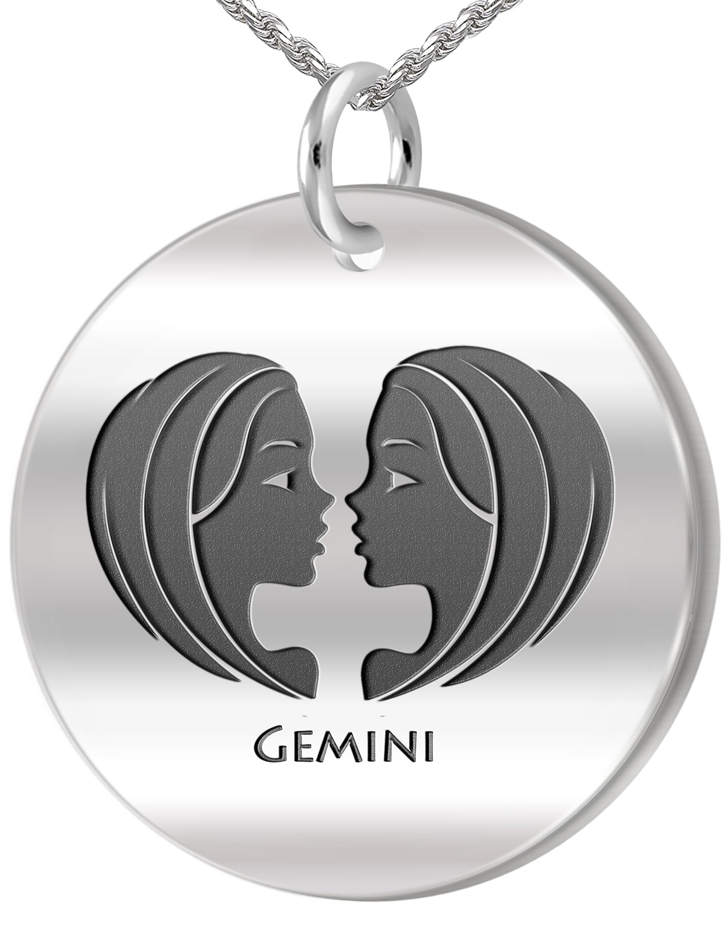 Gemini Necklace - Zodiac Pendant Necklace In Round