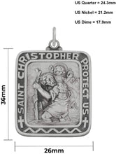 Saint Christopher Necklace In Rectangle Shape - Size Details
