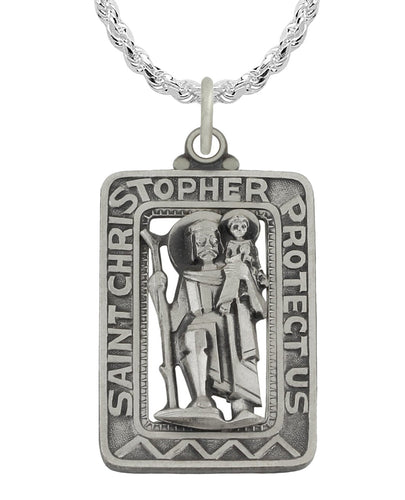 St Christopher Necklace In Rectangle - Rope Chain