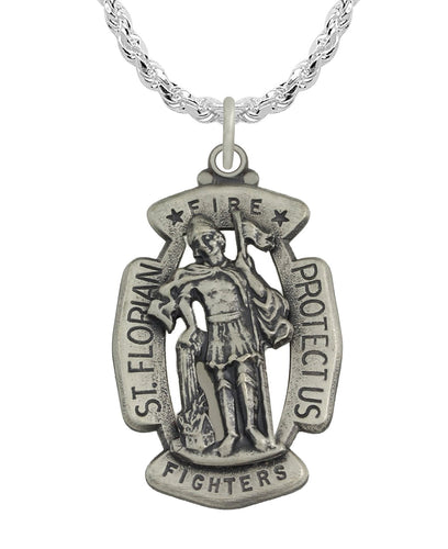 St Florian Necklace Made For Men - Rope Chain