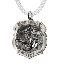 Saint Michael Pendant With Antique Finish - Curb Chain