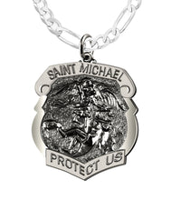 Saint Michael Pendant With Antique Finish - Figaro Chain