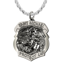 Saint Michael Pendant - Shield Badge With Antique Finish
