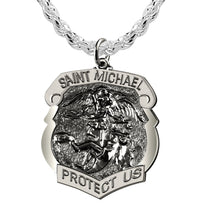 Saint Michael Pendant With Antique Finish - Rope Chain