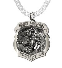 Saint Michael Pendant With 3mm Curb Chain - Men