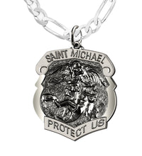 Saint Michael Pendant With 3mm Figaro Chain - Men