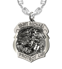 Saint Michael Pendant With Antique Finish - Marine Chain