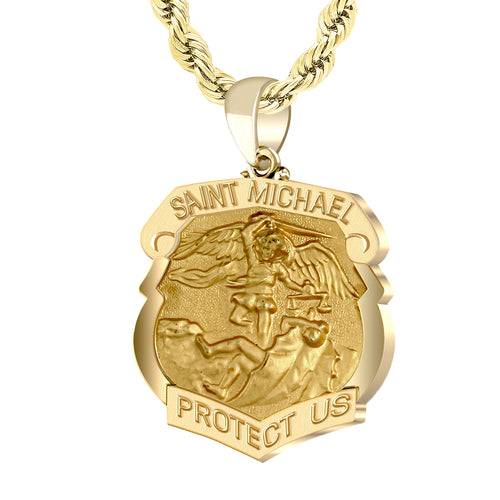 Saint Michael Pendant Shield Badge - 2.4mm Rope Chain