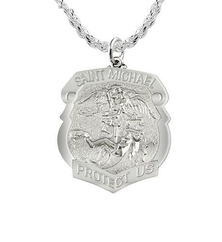 Saint Michael Pendant With Shield Badge - Rope Chain