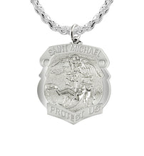 Saint Michael Pendant With Shield Badge & Rope Chain