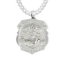 Saint Michael Pendant With Shield Badge & Curb Chain