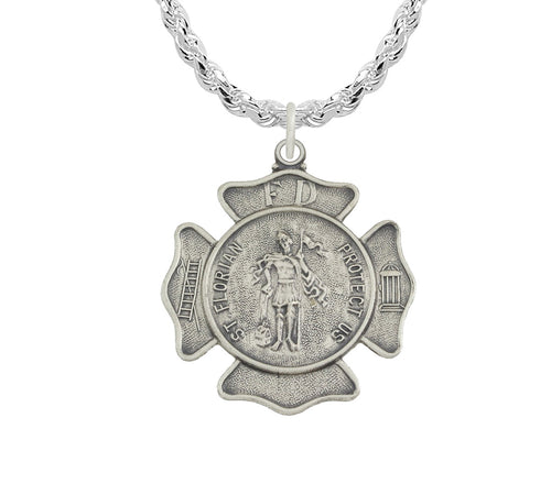 St Florian Necklace Of Sterling Silver - Rope Chain