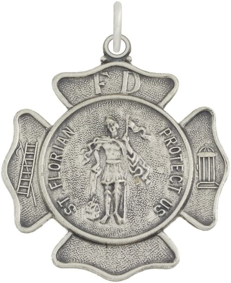 St Florian Necklace Of Sterling Silver - Badge Medal Pendant