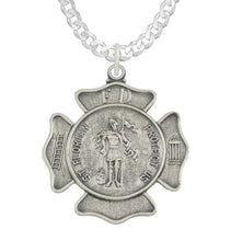 St Florian Necklace With Badge Medal Pendant - Curb Chain