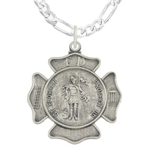 St Florian Necklace With Badge Medal Pendant - Figaro Chain