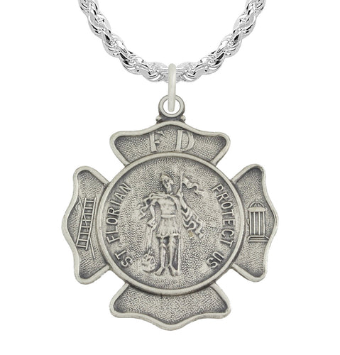 St Florian Necklace With Badge Medal Pendant - Rope Chain