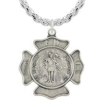 St Florian Necklace With Badge Medal Pendant & Rope Chain