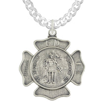 St Florian Necklace With Badge Medal Pendant & Curb Chain