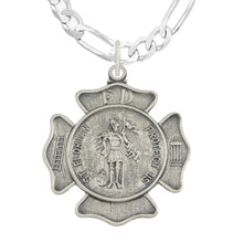 St Florian Necklace With Badge Medal Pendant & Figaro Chain