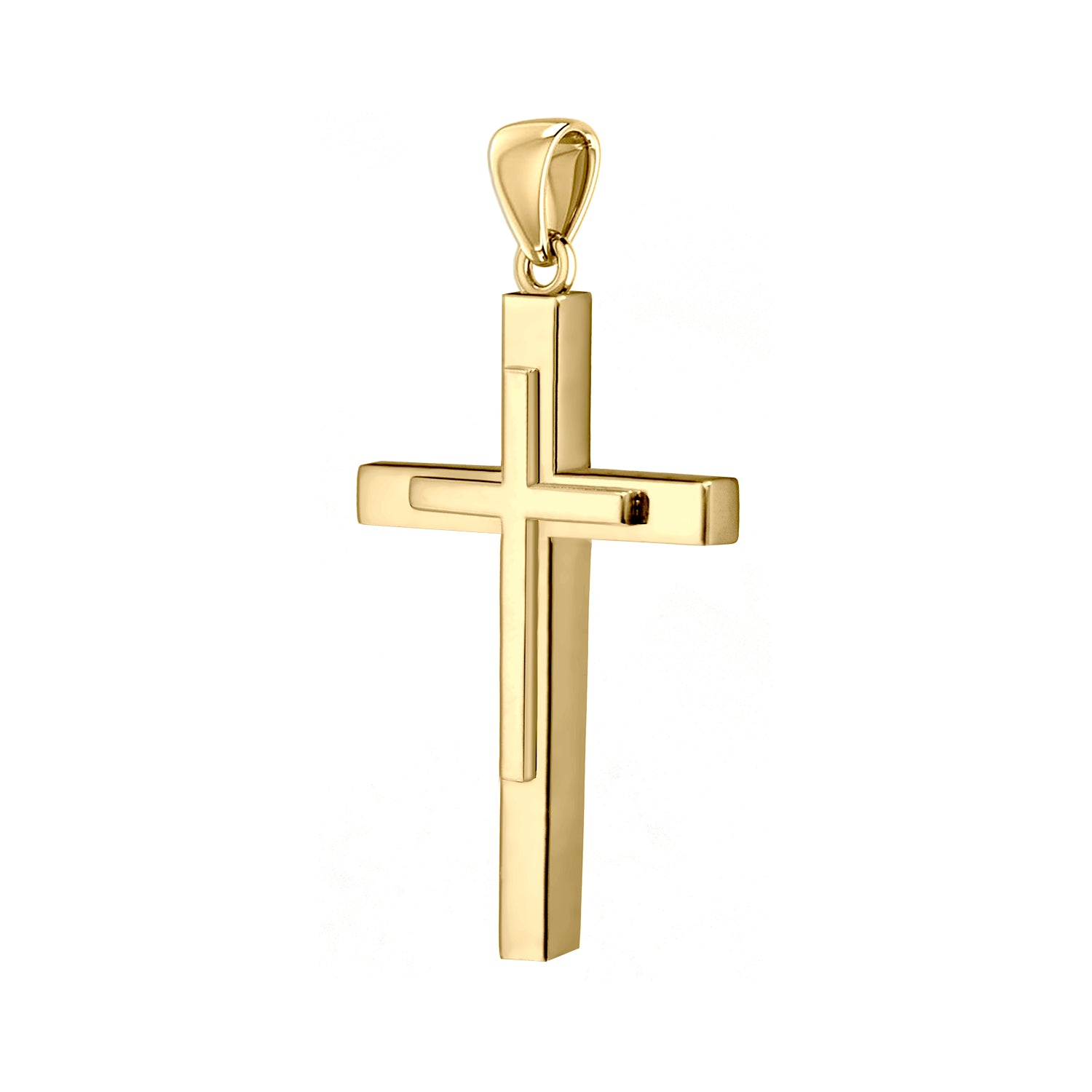 Christian Cross Necklace In Yellow Gold - Pendant Only
