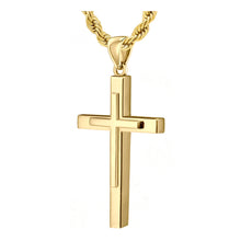 Christian Cross Necklace In Yellow Gold - 3.6mm Rope Chain