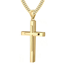 Christian Cross Necklace In Yellow Gold - 3.9mm Cuban Chain
