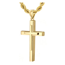 Christian Cross Necklace In Yellow Gold - 4.8mm Rope Chain