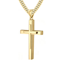 Christian Cross Necklace In Yellow Gold - 5.0mm Cuban Chain