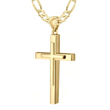 Christian Cross Necklace In Yellow Gold - 5.7mm Figaro Chain