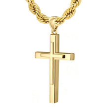 Christian Cross Necklace In Yellow Gold - 6.0mm Rope Chain