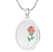 Rose Necklace With 2 Photo Enamel Rose - 1.50mm Rope Chain