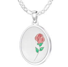 Rose Necklace With 2 Photo Enamel Rose - 1.8mm Figaro Chain