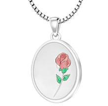 Rose Necklace With 2 Photo Enamel Rose - 2.2mm Box Chain