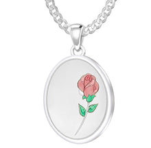 Rose Necklace With 2 Photo Enamel Rose - 2.2mm Curb Chain
