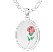 Rose Necklace With 2 Photo Enamel Rose - 2.3mm Figaro Chain