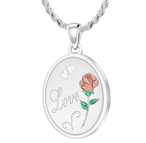 Rose Necklace - Love Necklace With 2 Photo Enamel Rose