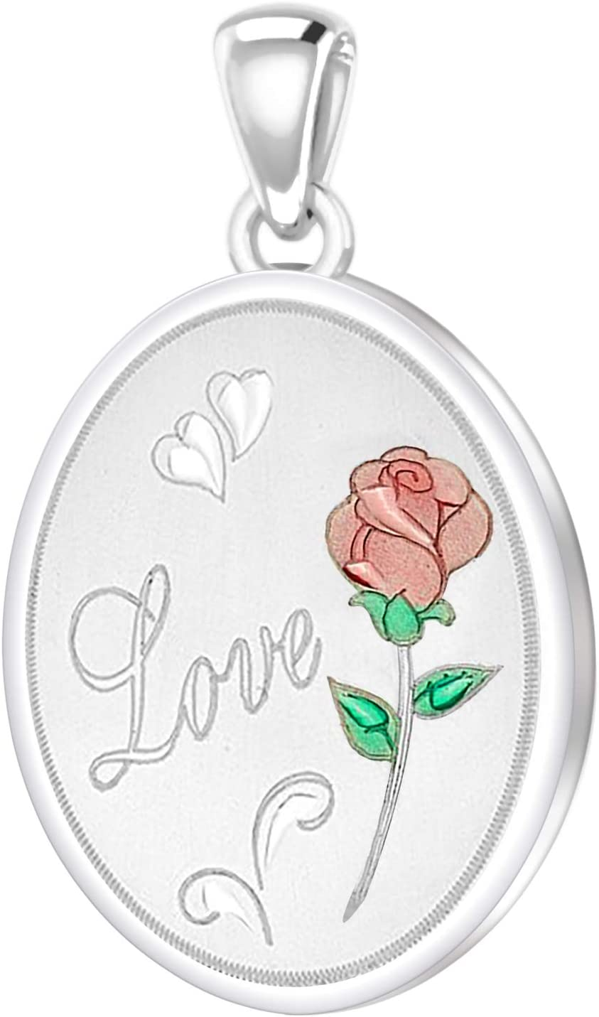 Rose Necklace With 2 Photo Enamel Love Rose - No Chain