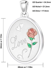 Rose Necklace With 2 Photo Enamel Love Rose - Size Details