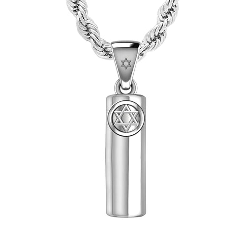 Mezuzah Necklace In Silver - 2.2mm Rope Chain