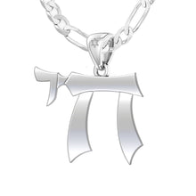 Jewish Chai Necklace Of Silver For Men - 3.4mm Figaro Chain