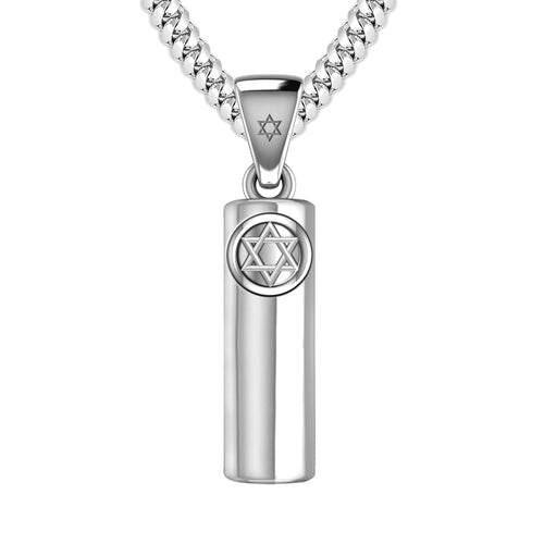 Mezuzah Necklace In 925 Silver - 4.1mm Cuban Chain