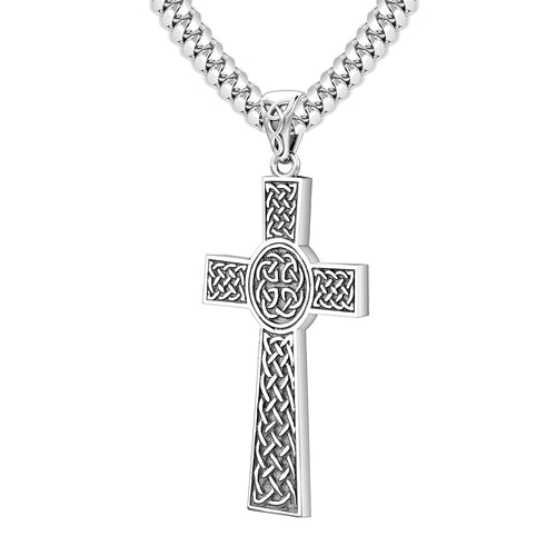 Men's Large 925 Sterling Silver Celtic Cross Pendant Necklace, 43mm