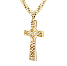 Men's Heavy Solid 14k Yellow Celtic Cross Pendant Necklace, Antique Finish