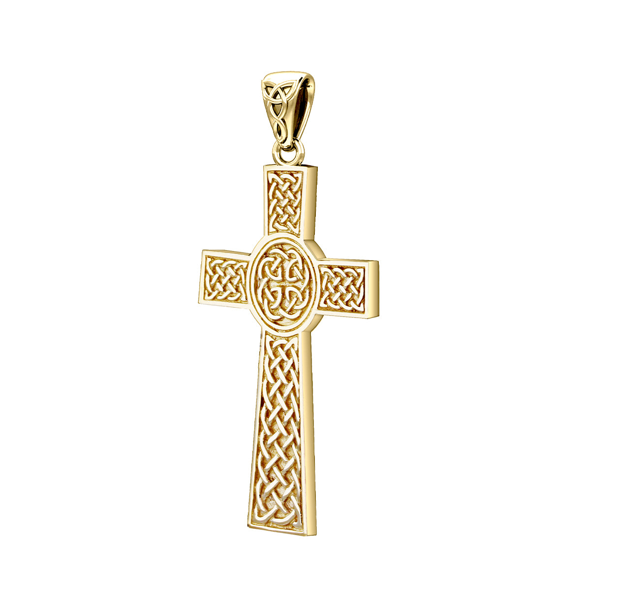 Men's Heavy Solid 14k Yellow Celtic Cross Necklace, 43mm