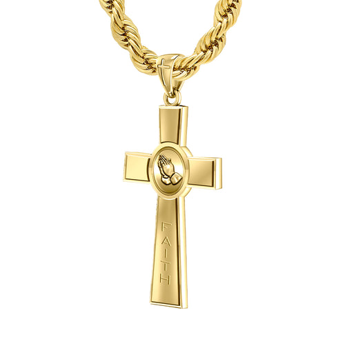 Men's Heavy Solid 14k Yellow Prayer Faith Cross Pendant Necklace, Polished Finish 45mm
