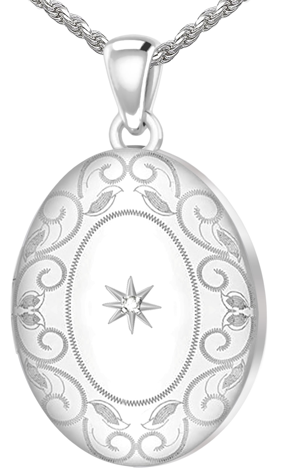 Diamond Necklace - Oval Locket In 2 Photo & Swirl Border