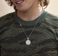 Flag Necklace In Silver With DNA German Disc - Worn By Man